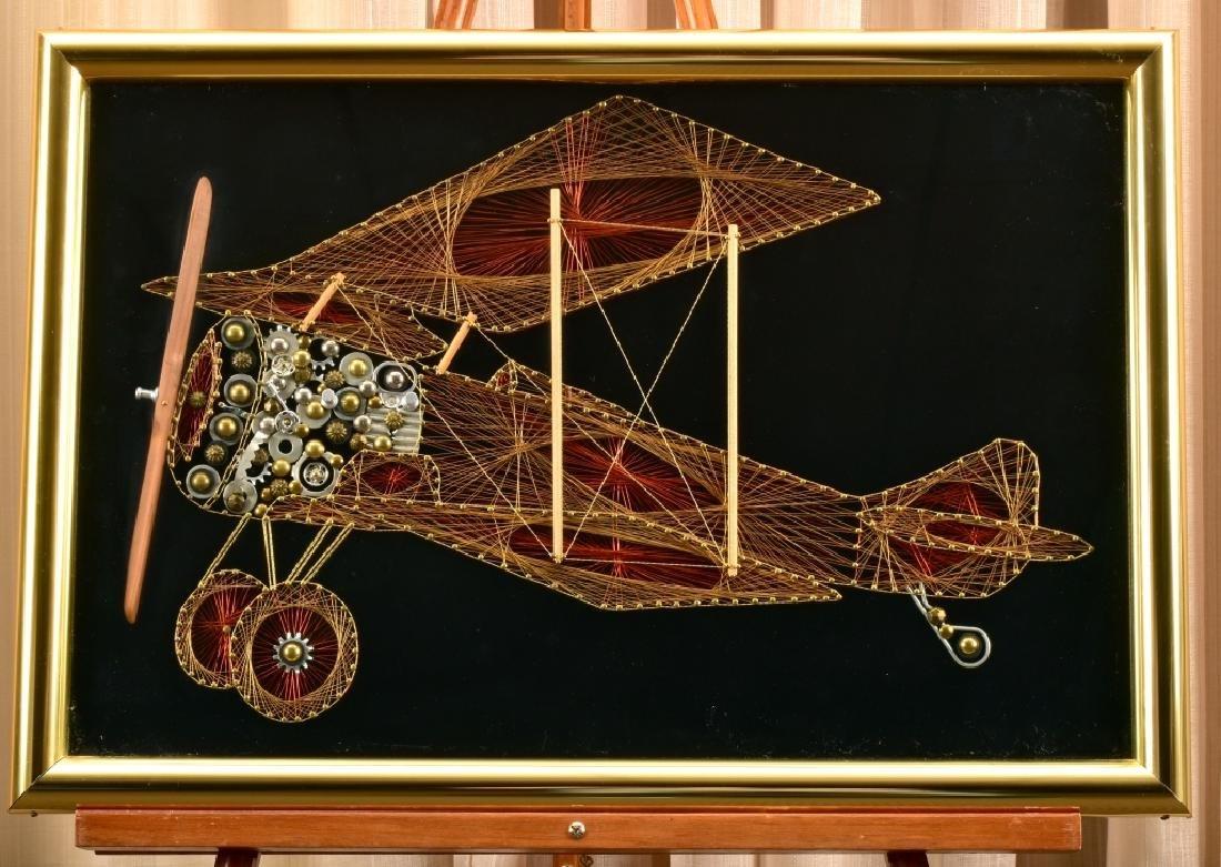 Wire & String Art Biplane on Velvet