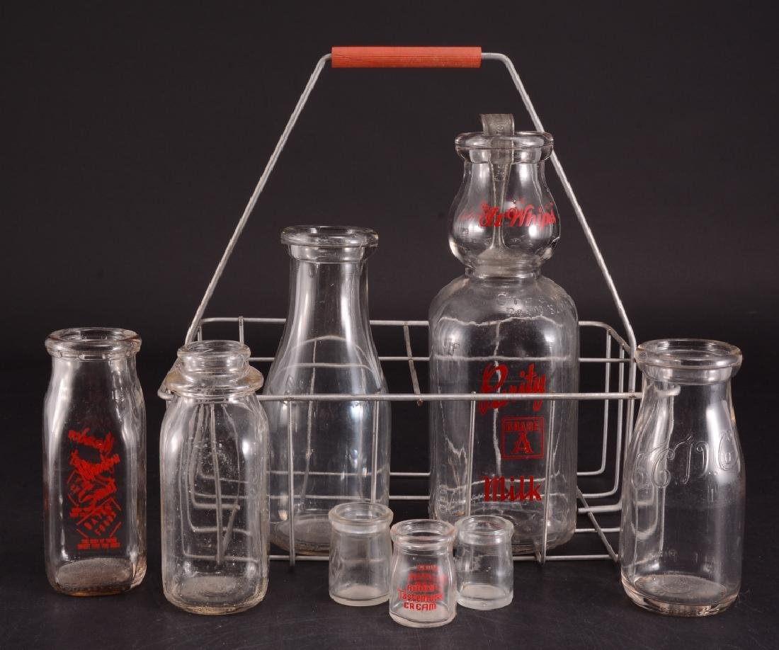 Vintage Milk Bottles & Basket