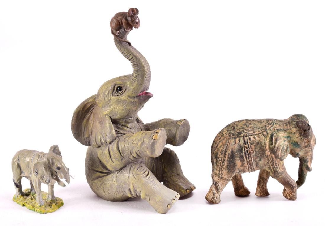 3 Elephant Figurines