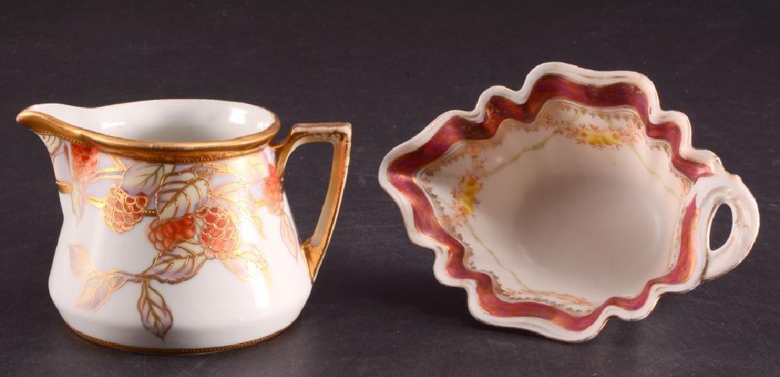 Oval Bowl w/Pierced Handle & Nippon Creamer