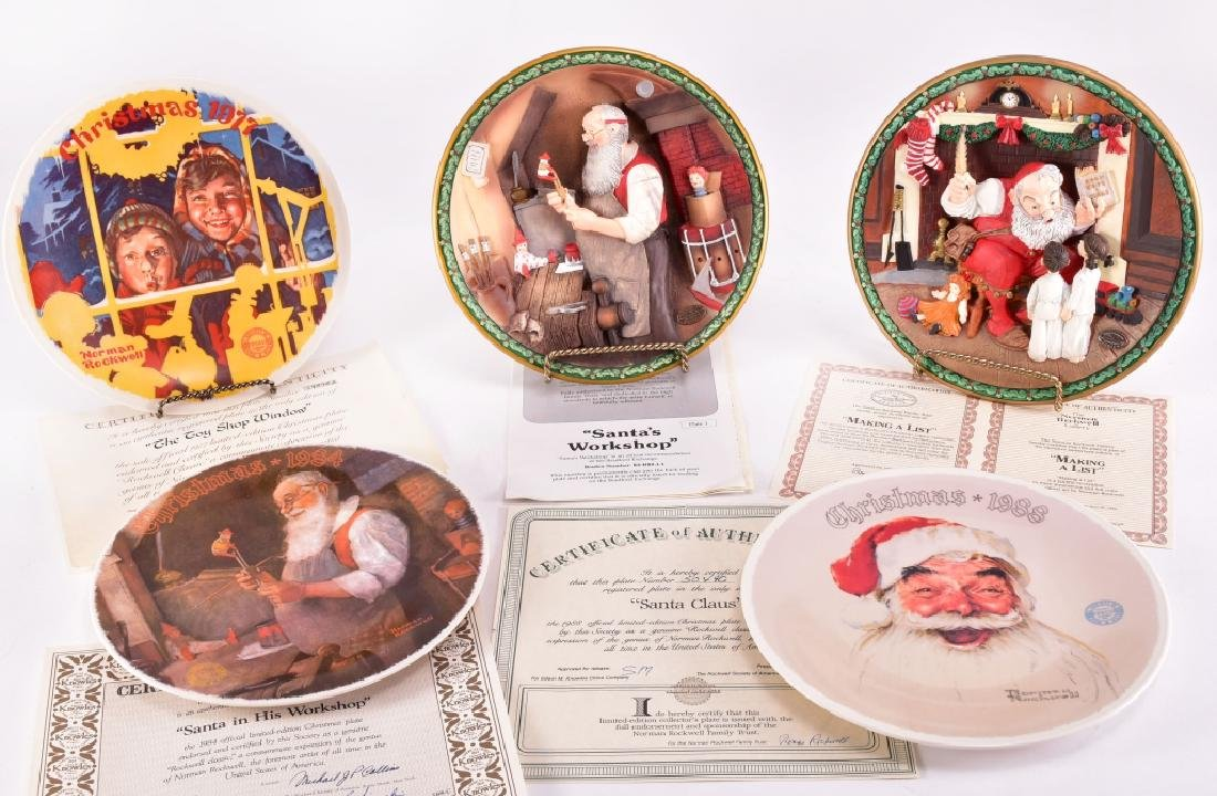5 Norman Rockwell Christmas Collector Plates
