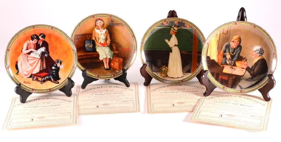 4 Norman Rockwell American Dream Collector Plates