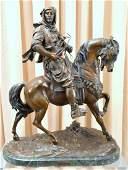 "Barye ""Arab on Horse"" Bronze Sculpture & Stand"