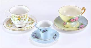 3 Vintage Cups  Saucers
