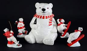 Coca-Cola Polar Bear Cookie Jar & Figurines