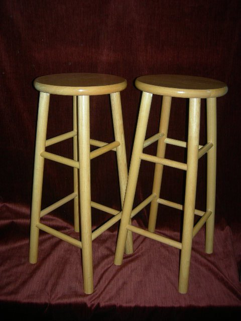 9: PAIR WINSOME WOOD STOOLS