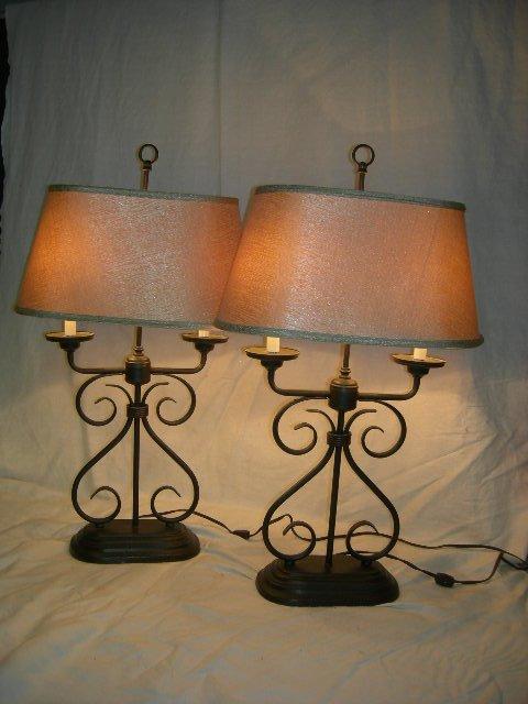 10: PAIR METAL LAMPS