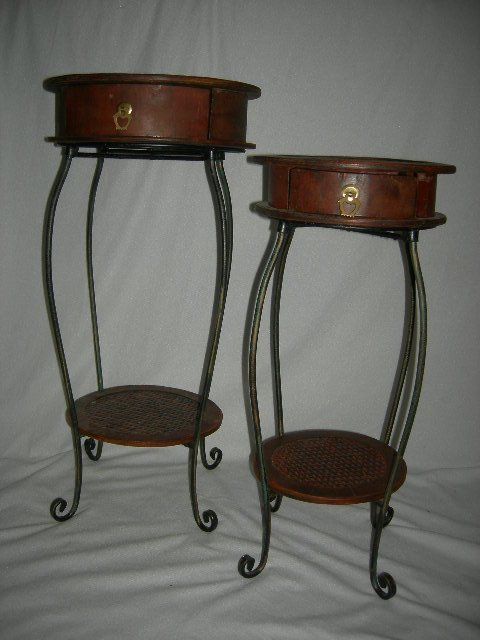14: TWO WOOD & METAL SIDE TABLES