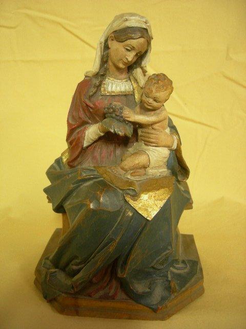 12: WOOD CARVED MADONNA & CHILD