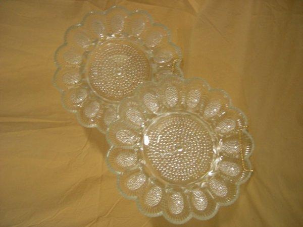 13: 2 GLASS EGG PLATES