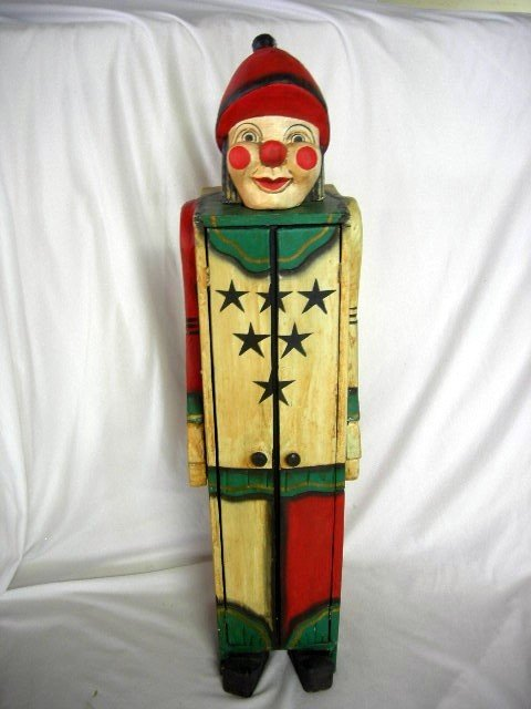 24: CLOWN SHAPED CARVED WOODEN STORAGE CABINET