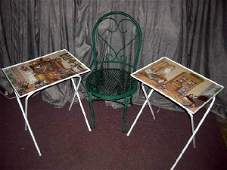 444: GREEN METAL BISTRO SIDE CHAIR