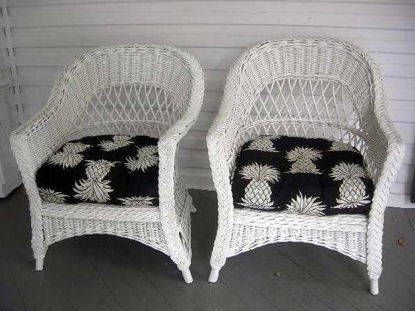 18: PAIR WICKER ARM CHAIRS