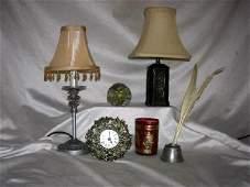 162 DESK TOP ACCESSORIES INCLUDING PIERCED BRASS LAMP