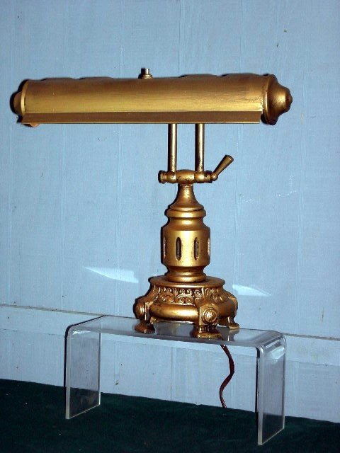11: BRASS AND METAL PIANO/DESK LAMP