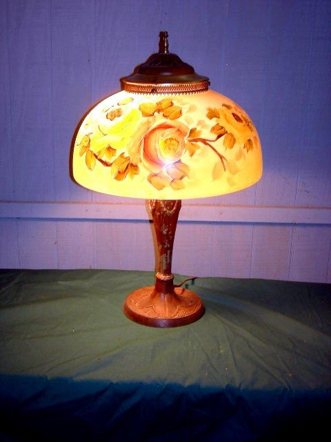 20: ART DECO STYLE LAMP W/HANDPAINTED SHADE