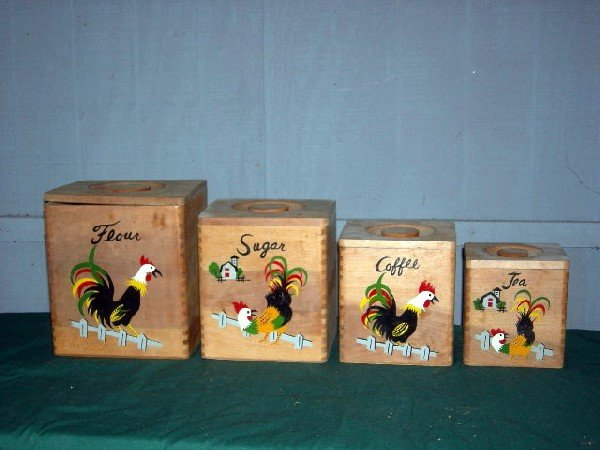 21: WOODEN ROOSTER CANISTER SET