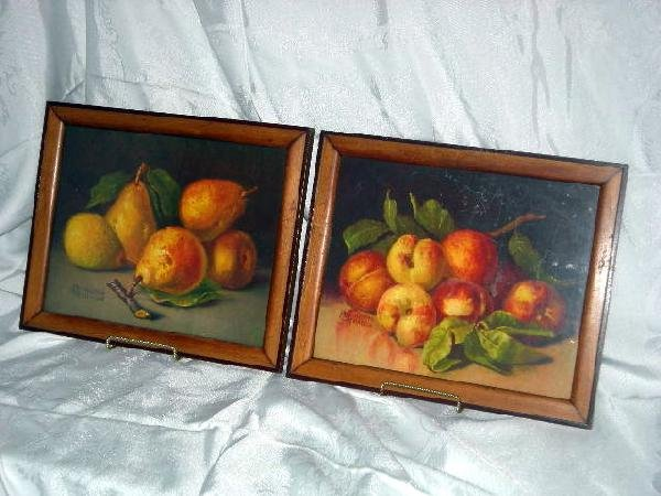416: 2 FRAMED FRUIT PRINTS