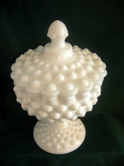 434: FENTON HAND MADE COVERED COMPOTE