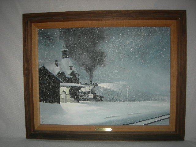 7: L. BECKER (20TH C.) OIL PAINTING OF TRAIN