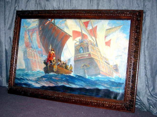 100: GEORGE MURRAY CHRISTOPHER COLUMBUS OIL ON CANVAS