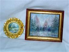 105: TWO MINIATURE IMPRESSIONISTIC PAINTINGS