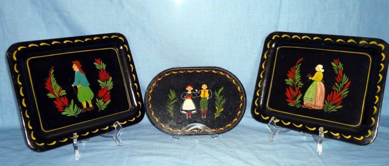 4: TRIO TOLE PAINTED TRAYS