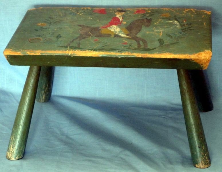 9: PRIMITIVE HAND PAINTED STOOL
