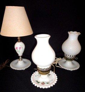 21: THREE MILK GLASS LAMPS