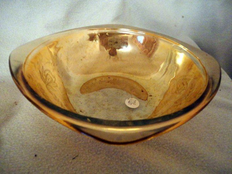 355: FLORA GOLD DEPRESSION GLASS LOT - 6