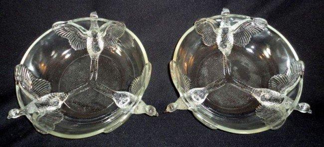 107: PAIR PRESSED GLASS BOWLS W/PHEASANTS