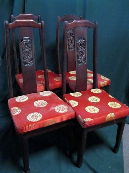 115: FOUR CARVED BACK DINING CHAIRS