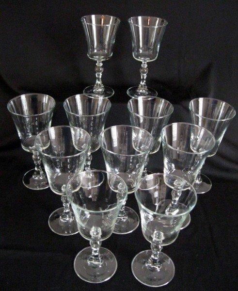 12: 11 CRYSTAL BEAD STEM WINE GLASSES
