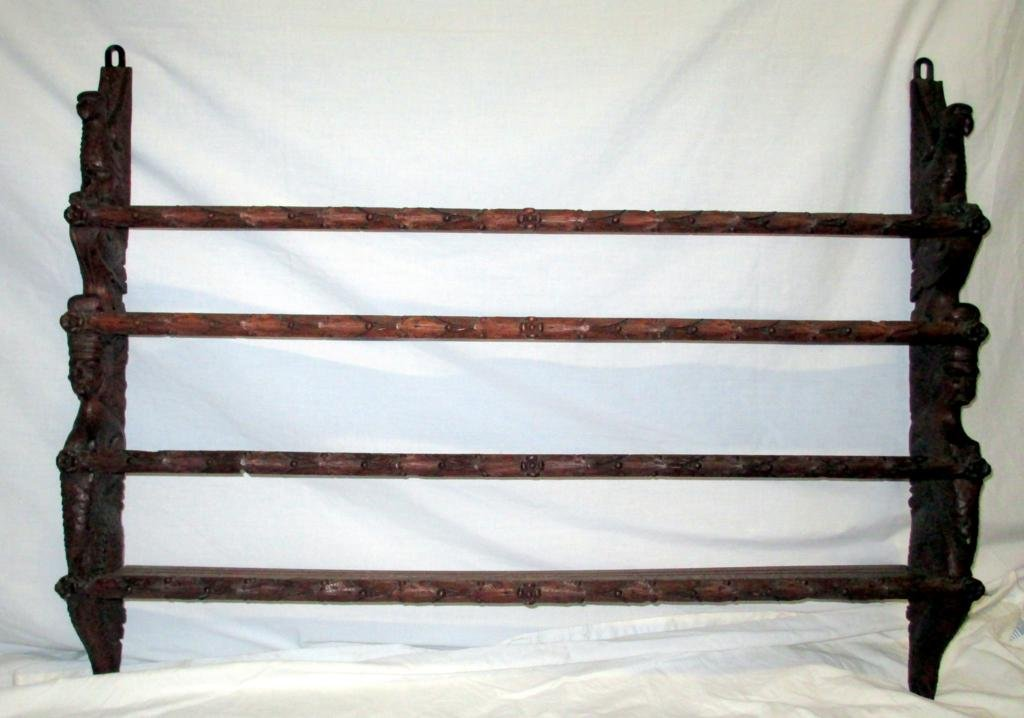 Elaborately Carved Plate Shelf