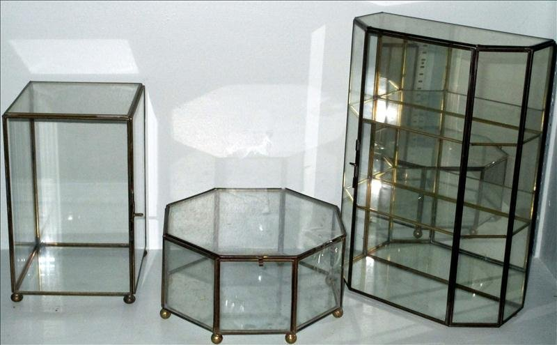 THREE GLASS AND BRASS DISPLAY BOXES