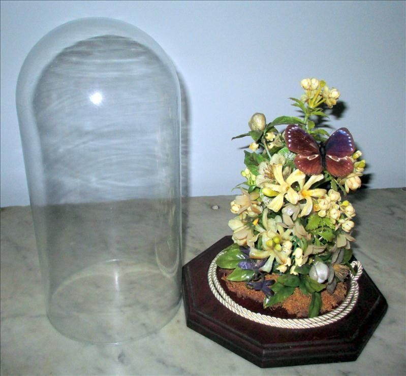 GLASS DOME OVER FLOWERS AND BUTTERFLY