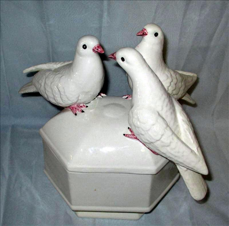 White Covered Dish w/Doves