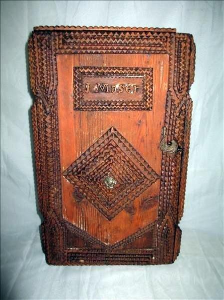 Tramp Art Wooden Cabinet