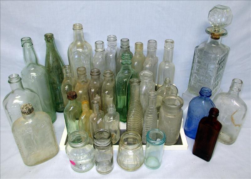 Over 30 Vintage Medicine Soda Whiskey Flask Bottles