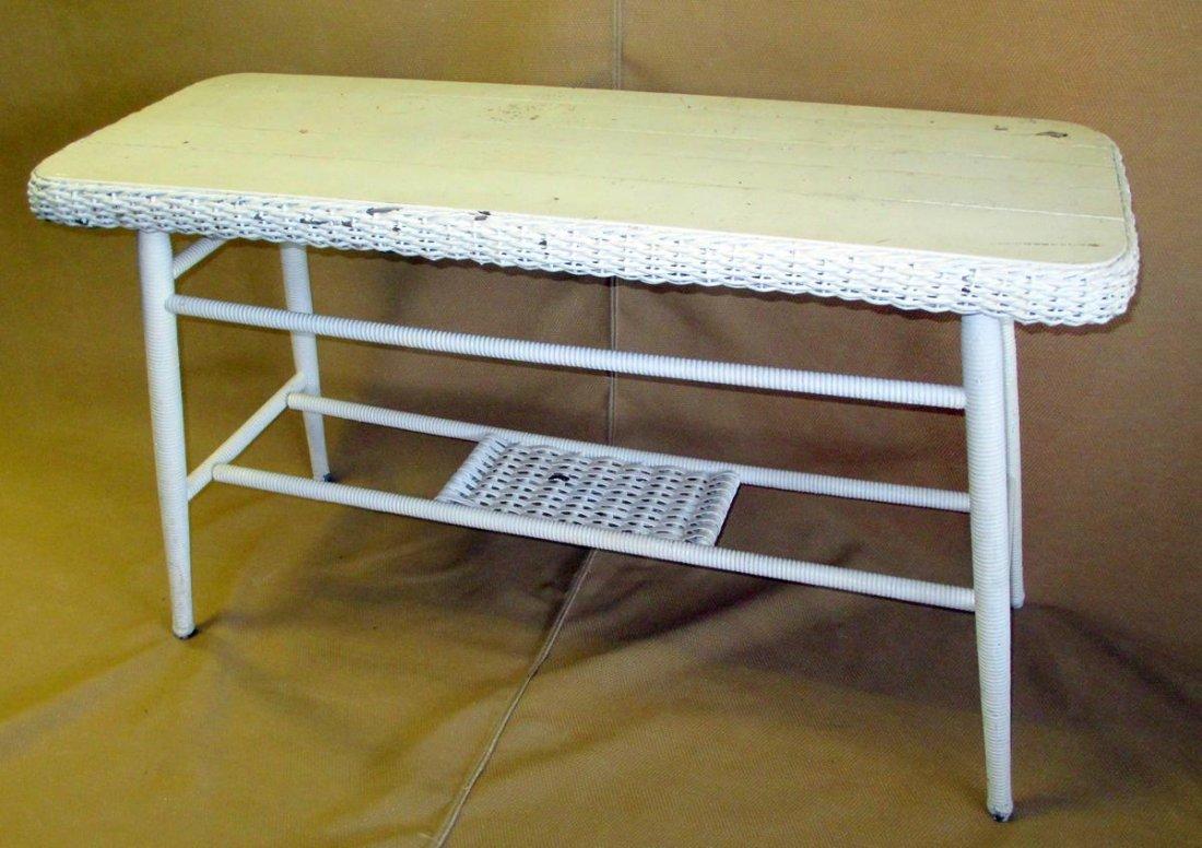 White Wicker Table