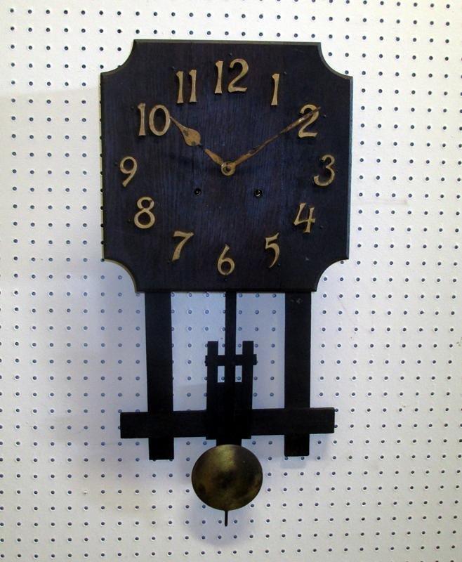 Oak Mission-Style Wall Clock
