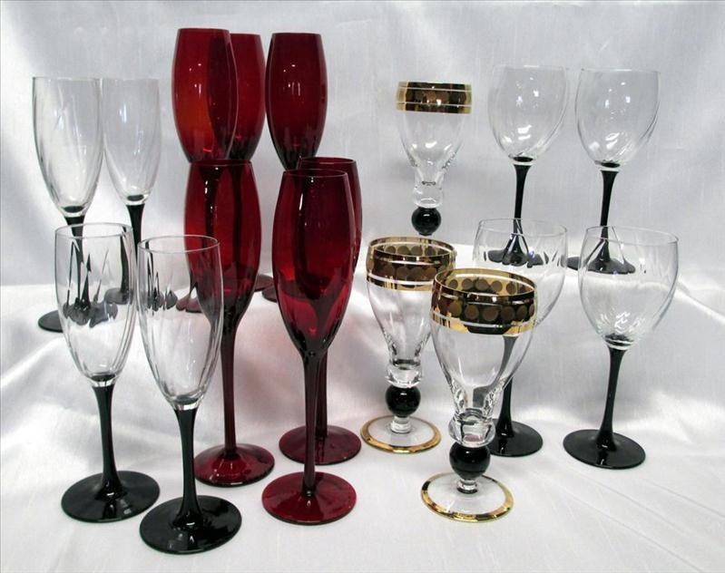 Red, Gold & Black Stemware