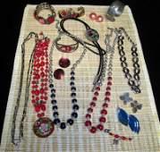 Kirk Pewter Chrysanthemum Bracelet Plus Jewelry Lot