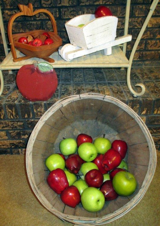 Decorative Apples in Bushel Basket Plus