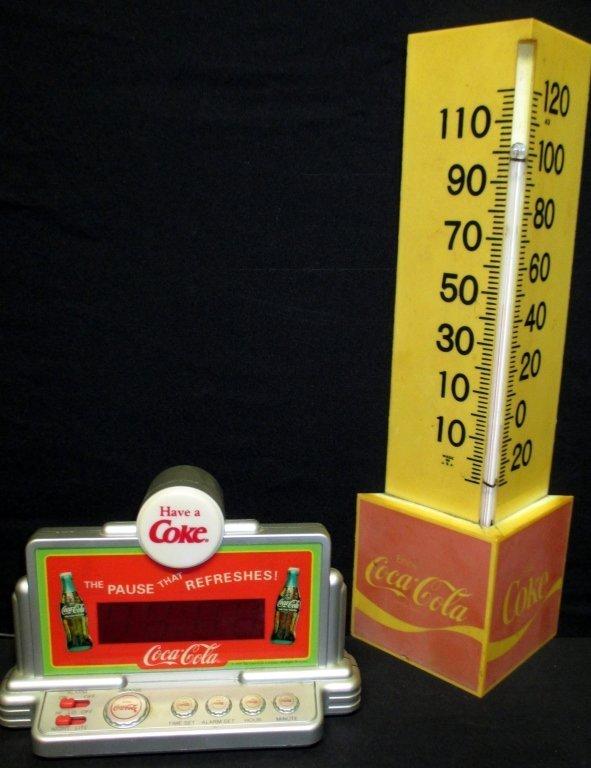 Vintage Coca Cola Thermometer & Alarm Clock