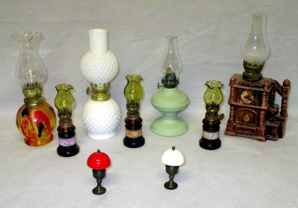 9 Miniature Oil Lamps