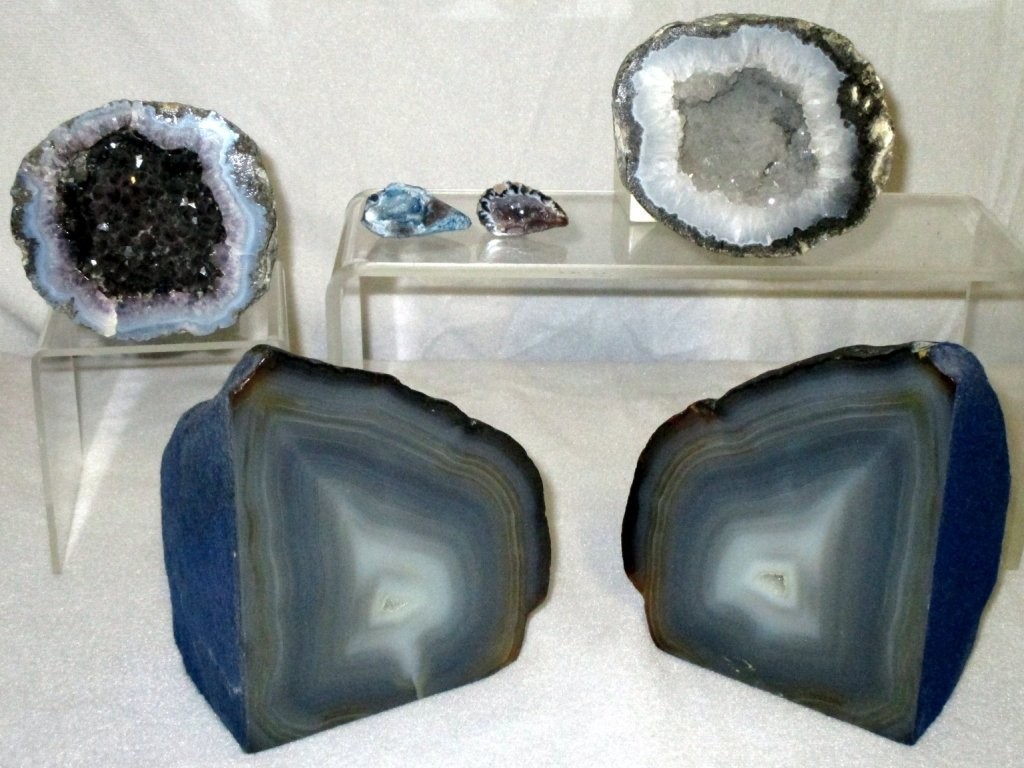 4 Geodes & Polished Bookends