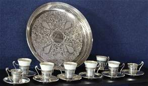 Sterling  Lenox Demitasse set wGorham Tray