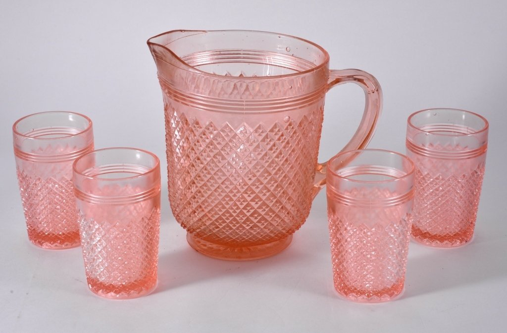 Pink Miss America Pitcher & 4 Tumblers