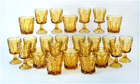 Heavy Amber Stems & Tumblers Glassware